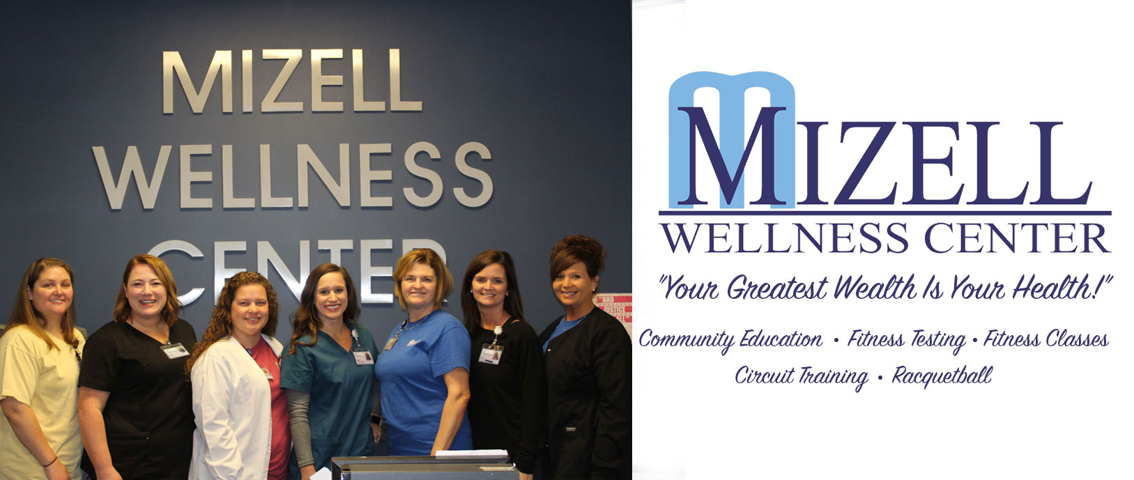 A group of smiling women in srubs. Mizell Wellness Center, your greatest wealth is your health. Community education, fitness testing, fitness classes, circuit training and racquetball