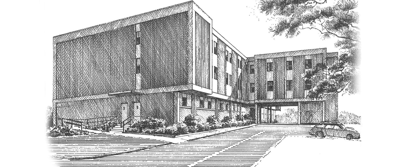 A sketch of the Mizell Memorial Hospital