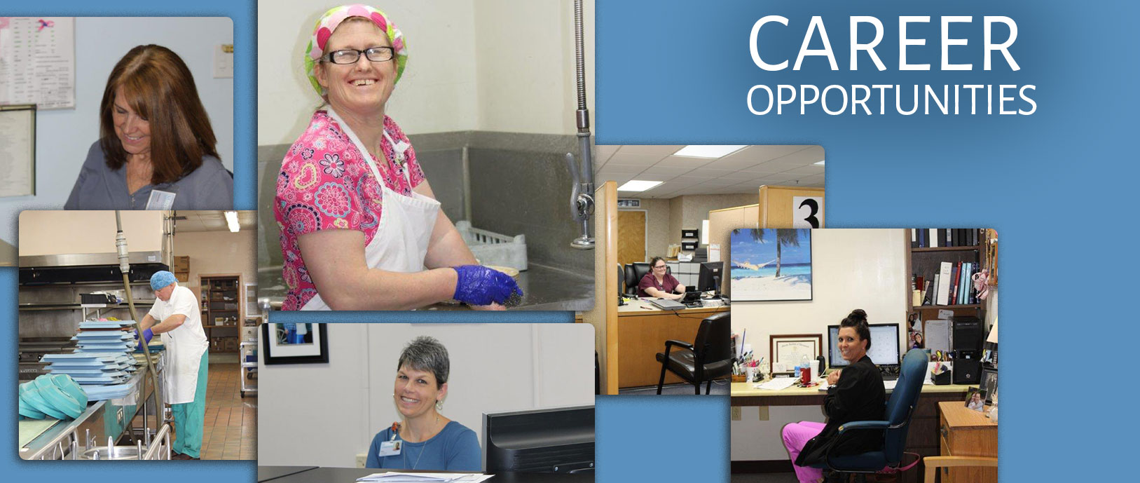 Career opportunities: smiling staff members fulfilling various tasks